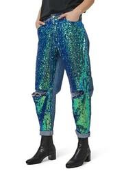 Topshop Mermaid Sequin Boyfriend Jeans