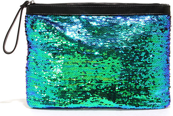 Camera Ready Blue And Green Sequin Clutch