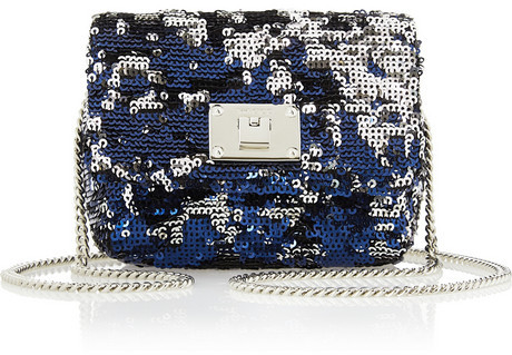 Blue Sequin Clutches Jimmy Choo Ruby Mini Sequined Leather Shoulder Bag