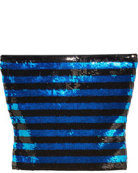 Saint Laurent Cropped Sequined Jersey Top Blue