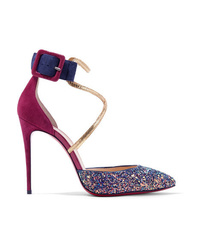 Christian Louboutin Suzanna 100 Med Glittered Suede Pumps