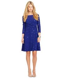 Lauren Ralph Lauren Sequined Faux Wrap Dress