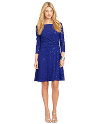 Lauren Ralph Lauren Sequined Faux Wrap Dress