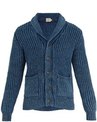 Faherty Shawl Collar Ribbed Knit Cotton Cardigan