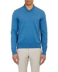 Piattelli Shawl Collar Sweater Blue