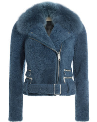 Burberry London Shearling Biker Jacket With Fox Fur