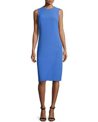 Ralph Lauren Collection Sleeveless Jewel Neck Faux Wrap Dress French Blue