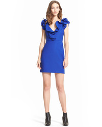 Lanvin Ruffle V Neck Sleeveless Sheath Minidress