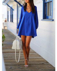 Choies Blue Chiffon Shift Dress With Slip Sleeves