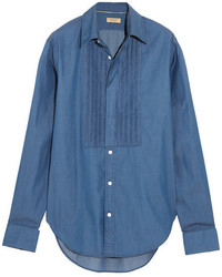 Burberry Bib Front Cotton Chambray Shirt Dark Denim