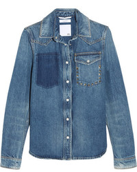 Valentino The Rockstud Distressed Denim Shirt Mid Denim
