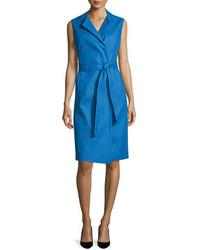 Escada Bartolini Sleeveless Belted Shirtdress Dark Blue