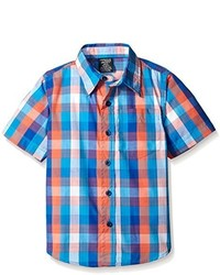 American Hawk Boys Short Sleeve Plaid Sport Shirt