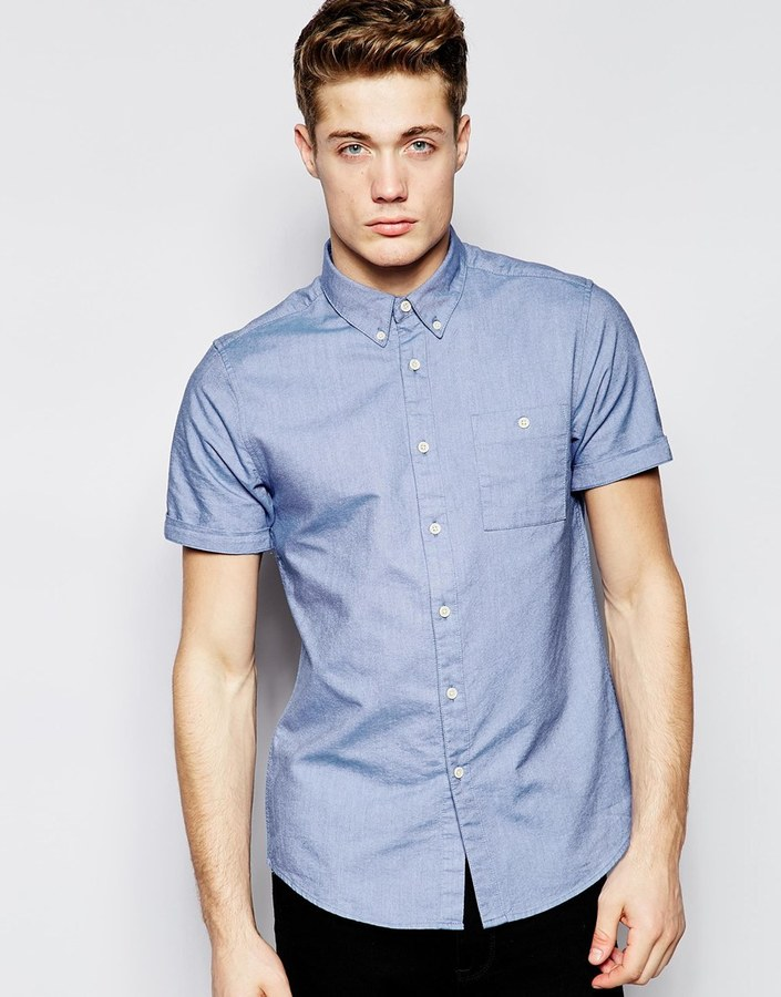 Asos Brand Oxford Shirt In Sky Blue With Short Sleeves ...
