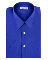 Van Heusen Short Sleeve Poplin Solid Dress Shirt Pacific Blue