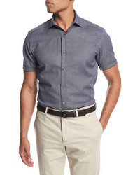 Ermenegildo Zegna Small Dot Short Sleeve Cotton Shirt