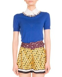 Mary Katrantzou Ella Jeweled Short Sleeve Sweater Electric Blue