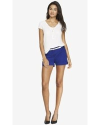 Express 4 12 Inch Belted Cuffed Stretch Cotton Shorts