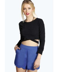 Boohoo Libby High Waisted Scallop Edge Shorts