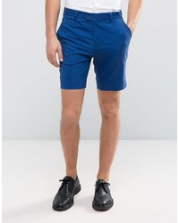 Asos Slim Tailored Shorts In Blue