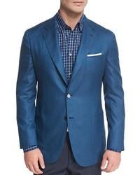 Solid silk two button blazer blue medium 1149224