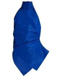 Rosie Assoulin Ruched High Neck Silk Faille Top