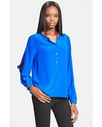 Blue Silk Button Down Blouse