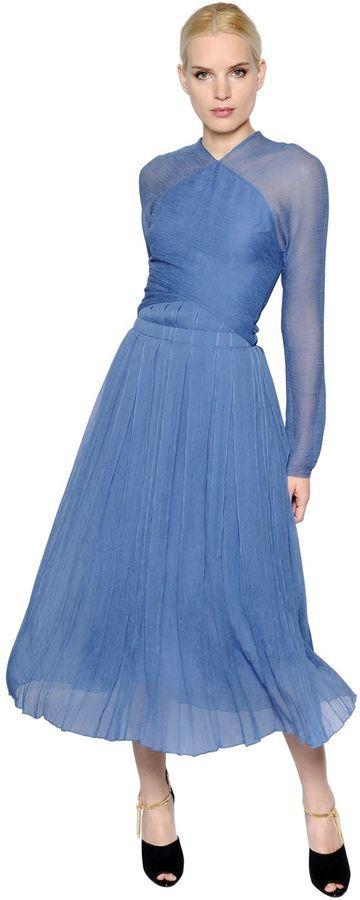 Nina Ricci Pleated Silk Chiffon Crepon Dress