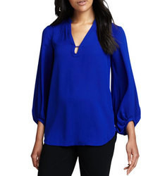 Diane von Furstenberg Tanyana Long Sleeve Silk Blouse Blue