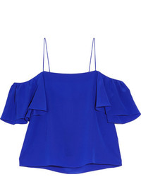 Fendi Off The Shoulder Silk Crepe De Chine Top Cobalt Blue