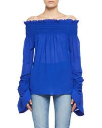 Saint Laurent Silk Georgette Off The Shoulder Top