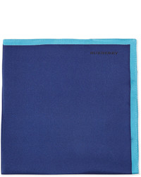 Burberry Solid Silk Pocket Square Navy