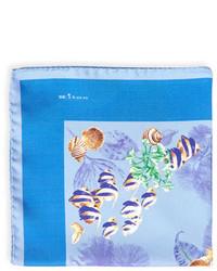 Kiton Tropical Fish Silk Pocket Square Blue