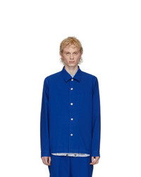 Fumito Ganryu Blue Silk Coach Shirt Jacket