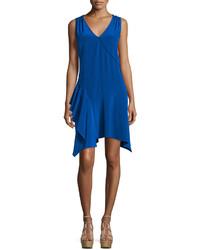 Derek Lam 10 Crosby Sleeveless Asymmetric Draped Tank Dress Cobalt