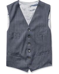 Richard James Blue Wool And Silk Blend Waistcoat