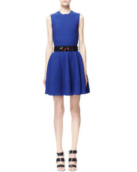 Alexander McQueen Crocodile Embossed Jacquard Fit And Flare Dress Blue