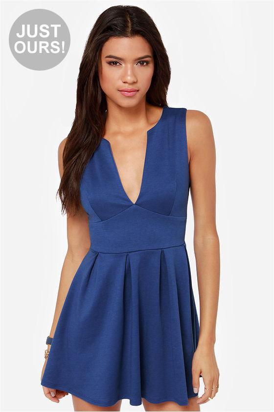 68328f2491 ... LuLu s Lulus Good Mood Royal Blue Skater Dress ...