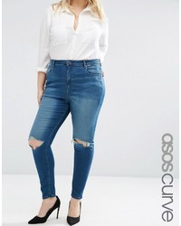 Asos Curve Curve High Waist Ridley Skinny Jeans In Mahogony Dark Wash With Rip