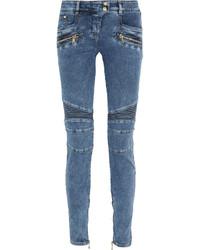 Balmain Moto Style Mid Rise Skinny Jeans Blue