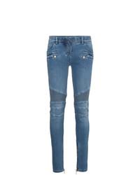 Balmain Blue Moto Skinny Jeans