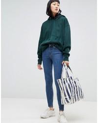Weekday Body Super Stretch Skinny Jeans In Mid Standard Blue