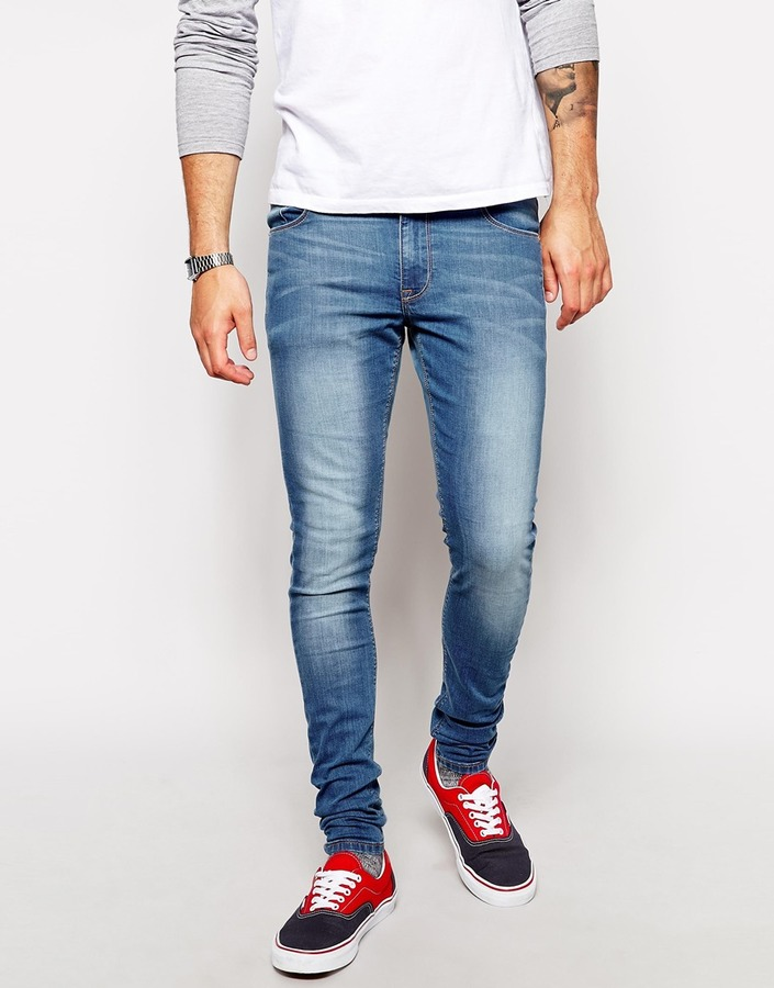 abee2a718 ... Blue Skinny Jeans Asos Brand Extreme Super Skinny Jeans In Light Wash  ...
