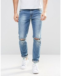 Asos Brand Skinny Jeans In Mid Wash With Knee Rips