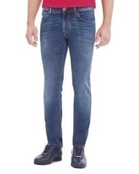 Stefano Ricci Contrast Stitch Skinny Denim Jeans Light Wash Bluered