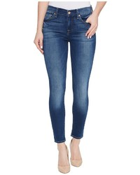 7 For All Mankind Cropped Skinny Jeans W Squiggle In Rich Coastal Blue Jeans