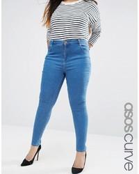 Asos Curve Curve Lisbon Midrise Skinny Jeans In Dora Blue Wash