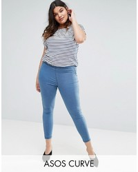 Asos Curve Curve Pull On Jegging In Maisy Mid Wash Blue