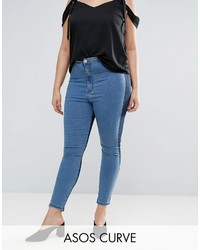 Asos Curve Curve Rivington High Waisted Denim Jegging In Two Tone Blues