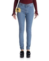 Fendi Fur Monster Skinny Jeans